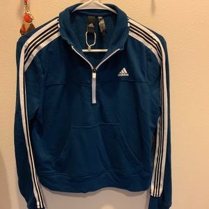 ADIDAS BLUE CROP TOP PULL OVER